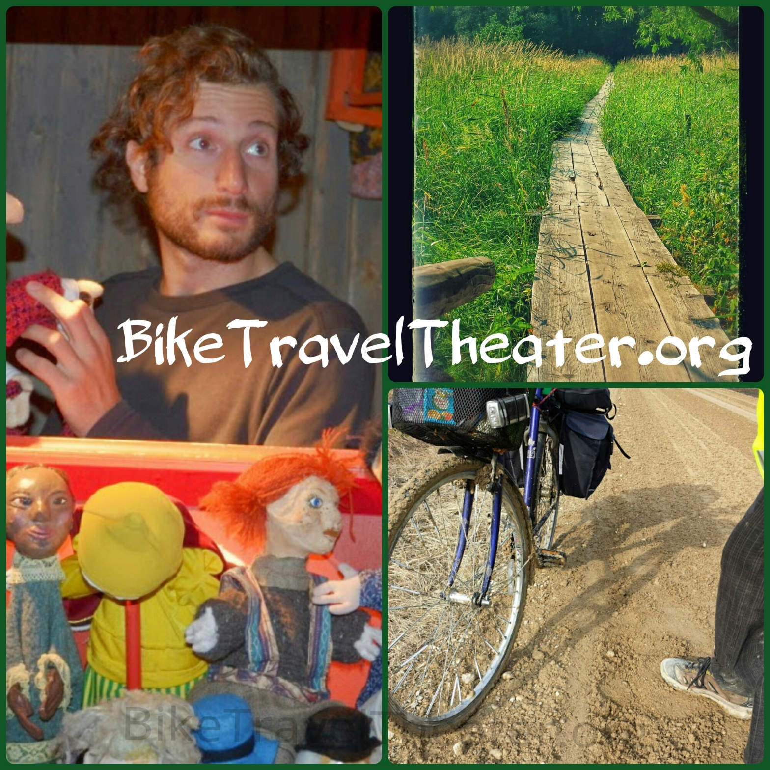 Luca's face, puppet, bike & nature