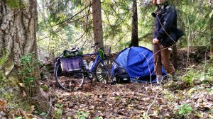 Bicycle, tent and me