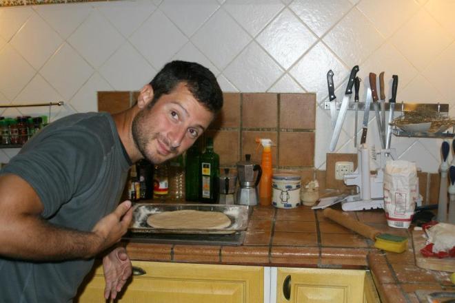"The attacker behaving like a friendly pizza man, before his dark plans. CS host ""Martina Piantina"", Spain,"