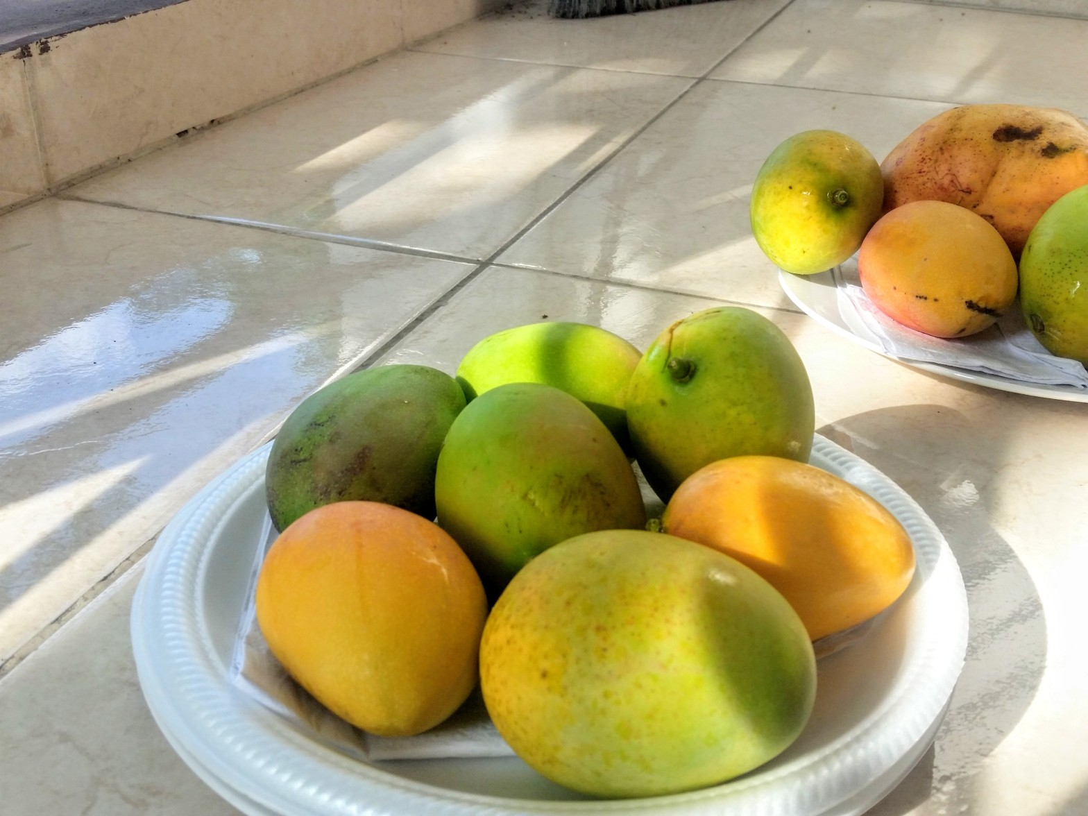 Few green-yellow mangoes in a dish