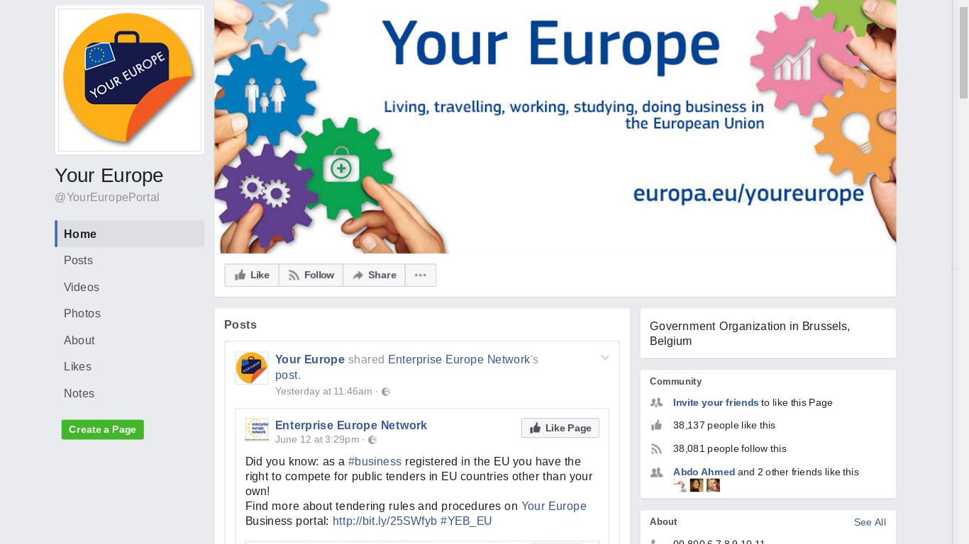 European Union Facebook page