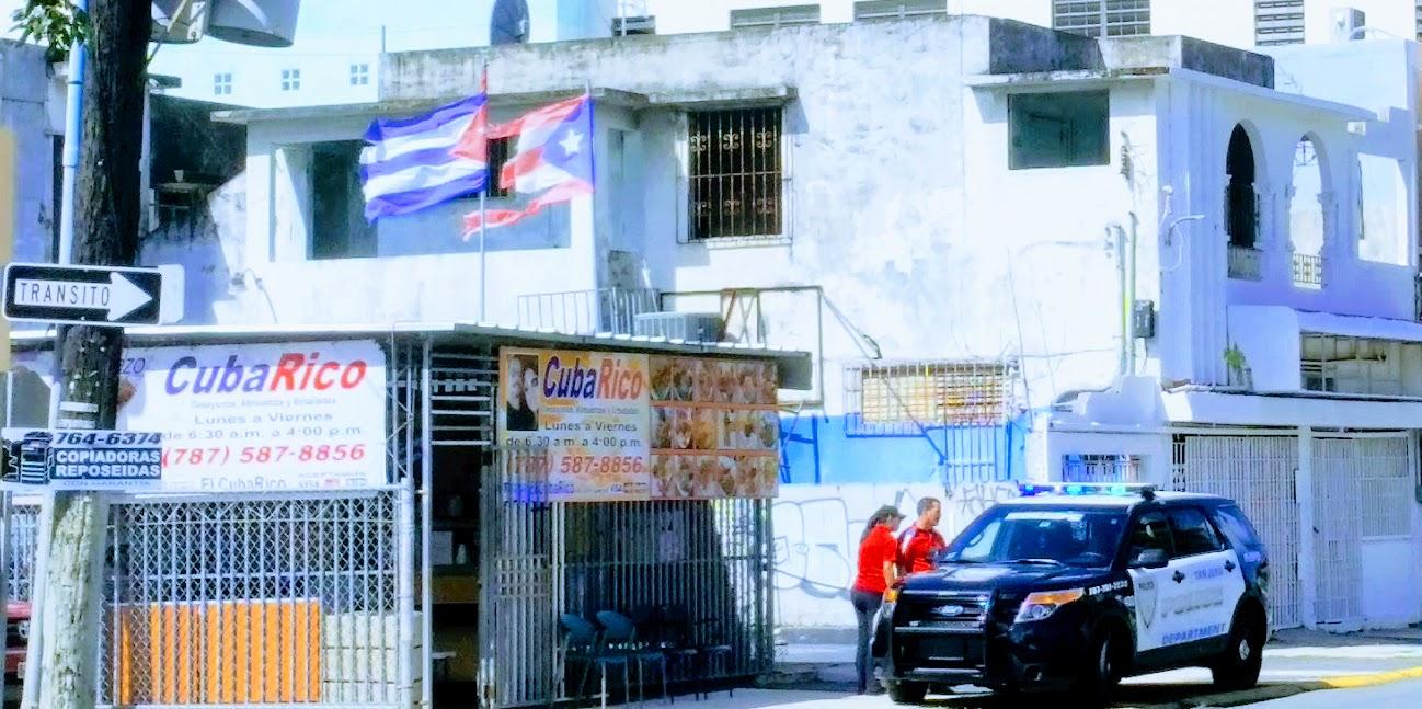A police car in the sidewalk of San Juan in PR