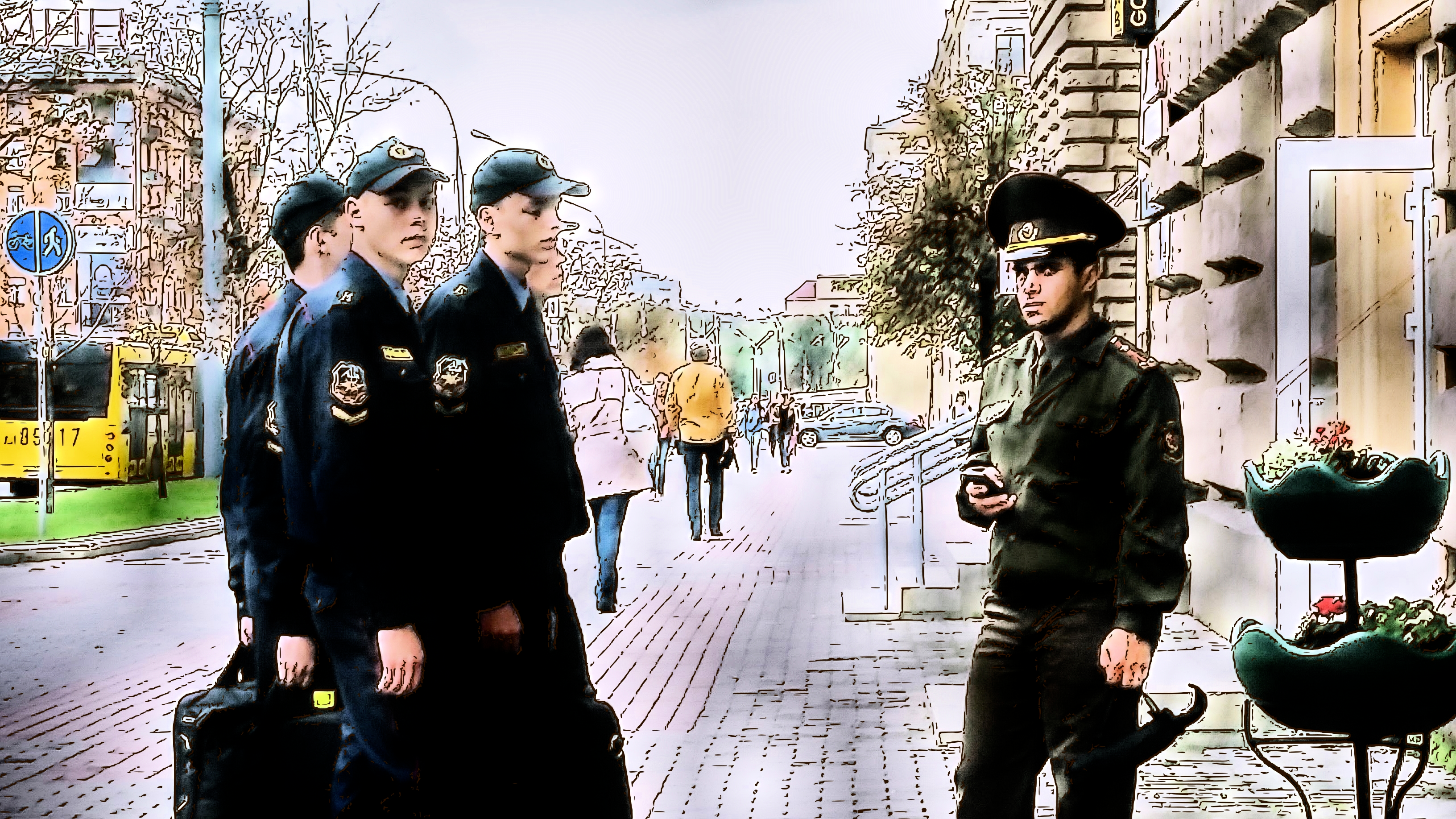 Men in uniform in Minsk, Belarus.