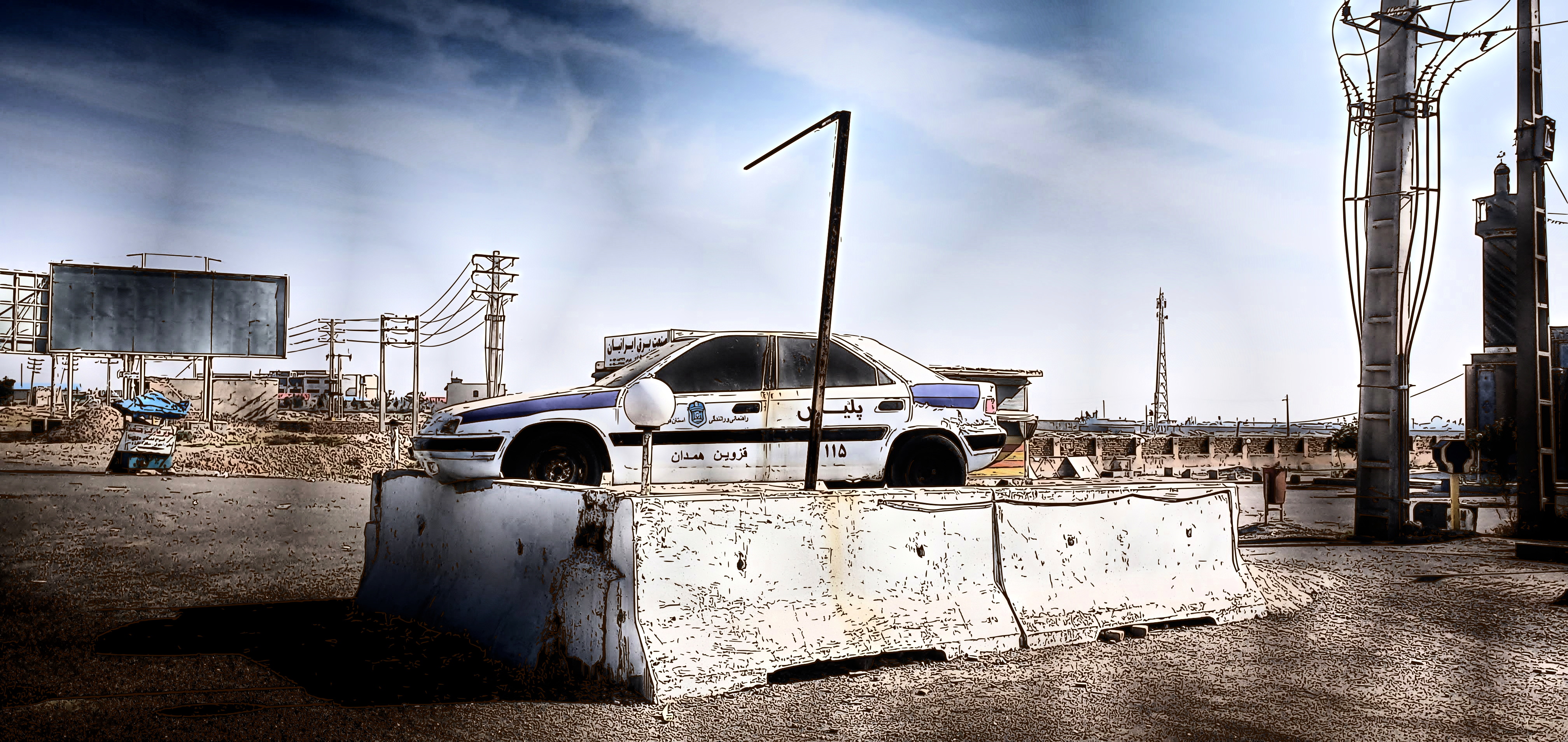 Police car abandoned in Iran as sign